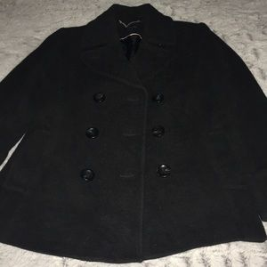 Land's End Wool Cashmere Nylon Blend Pea Coat